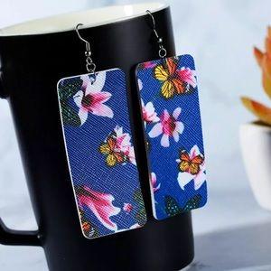 Butterfly leather Earrings.